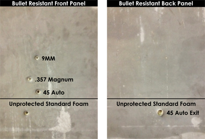bullet resistant panel with bullet holes